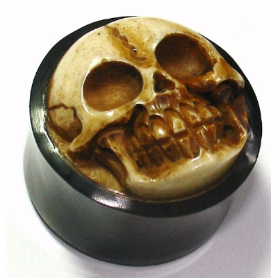 3D Carved Skull Organic Black Horn Ear Plug 8mm - 25mm
