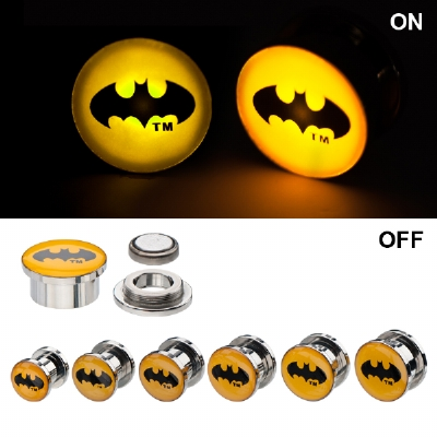 Light Up Batman Logo Official Licensed Plugs 8mm - 16mm (Pair)