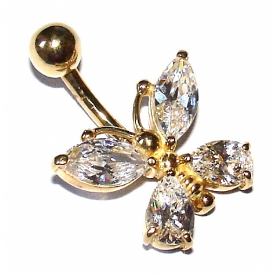 9ct Yellow Gold Crystal Large Butterfly Belly Piercing Bar