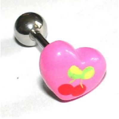 Cherry & Heart Colourful Tongue Piercing Bar