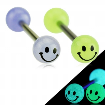 Smiley Face Glow In The Dark Titanium Tongue Bar
