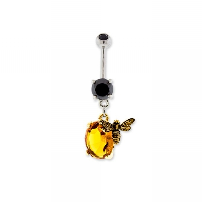 Amber Crystal Honey Bee Dangle Belly Bar