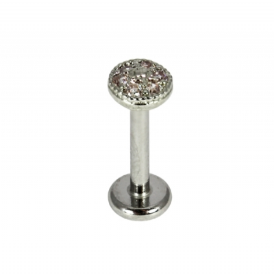 White Crystal Disk Internally Threaded Labret Stud - 1.2mm