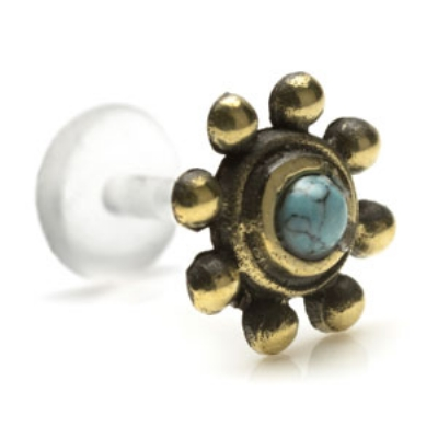 Brass Turquoise Bead Design Push-Fit Flexi Micro Labret