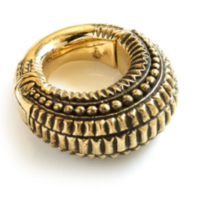 Brass Ear Weight - Antique Bobble Hoop Ring - 6mm