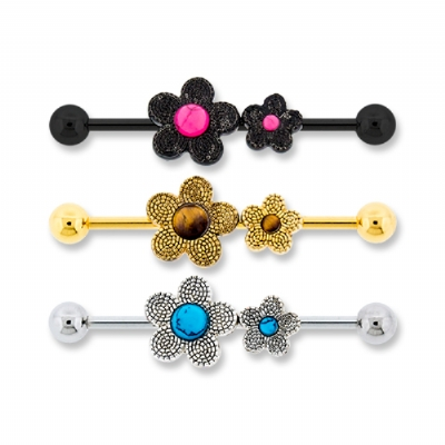 Double Semi-Precious Stone Flower Scaffold Industrial Barbell