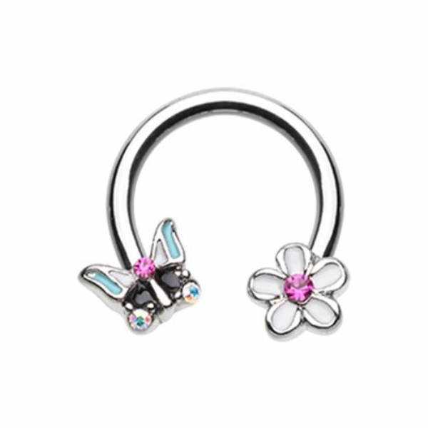 Butterfly Flower Daith Piercing Horseshoe Ring