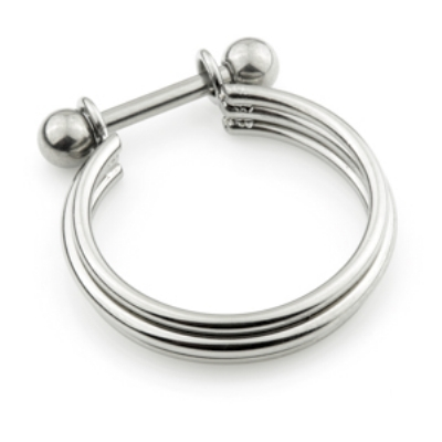 Triple Stacked Band Conch Cuff Titanium Ring - 1.2mm Barbell