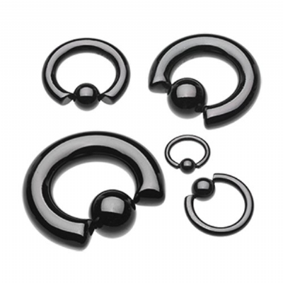 Black Heavy Gauge Thick BCR Ring
