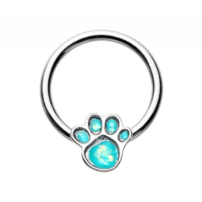 Animal Lover Opal Paw Ball Closure Ring