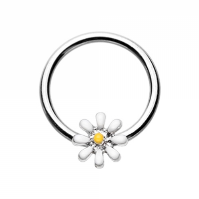 Enamel Daisy Flower Ball Closure Ring