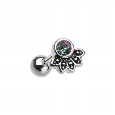 Dark Rainbow Crystal Cluster Fan Tragus / Helix Bar