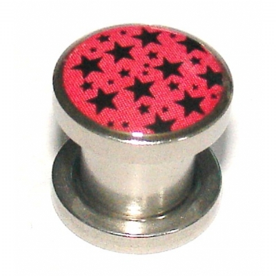 Pink Multi Stars Logo Surgical Steel Screw On Flesh Plug