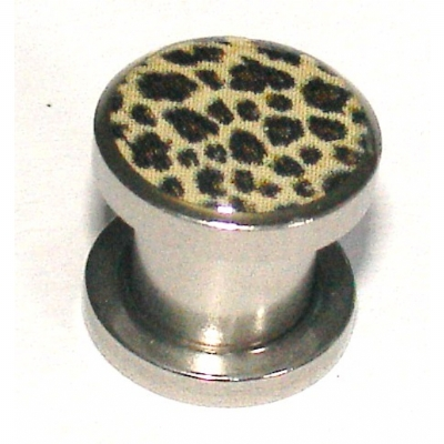 Leopard Print Logo Surgical Steel Screw On Flesh Plug