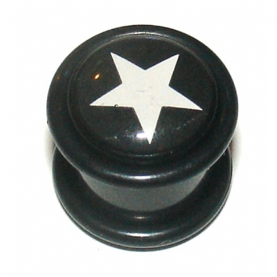 Black & White Star Logo Ear Plug 8mm - 12mm