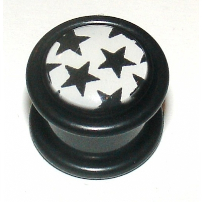Black & White Multi Stars Logo Ear Plug 8mm - 12mm