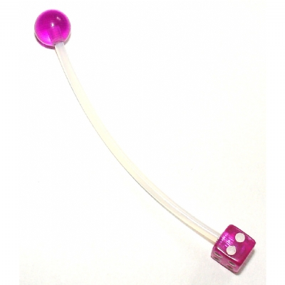 Acrylic Dice Pregnancy Belly Piercing Bar