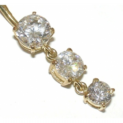 9ct Yellow Gold Crystal Triple Solitaire Dangle Belly Piercing Bar