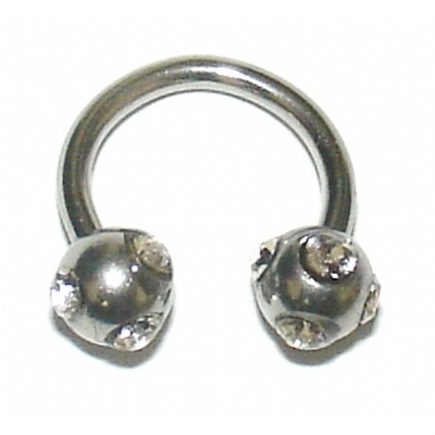 Crystal Ball Horseshoe Circular Barbell - 1.2mm