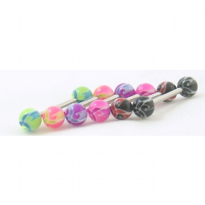 Ninja Star Colourful UV Titanium Tongue Bar