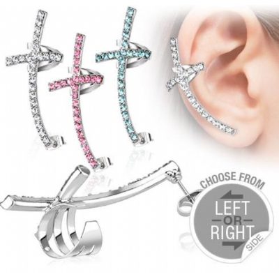 Crystal Cross Ear Cuff Lobe Piercing Chain - Only One Standard Ear Piercing Required