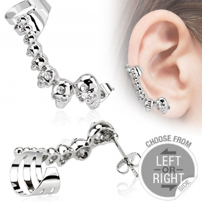 Crystal Skull Ear Cuff for Standard Ear Piercings- Only One Standard Ear Piercing Required