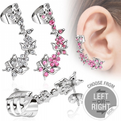 Cute Crystal Butterfly Ear Cuff for Standard Ear Piercings - Only One Standard Ear Piercing Required