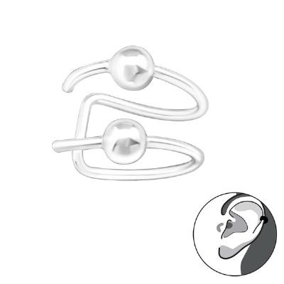 Double Piercing Look Clip On Sterling Silver Helix Ear Cuff