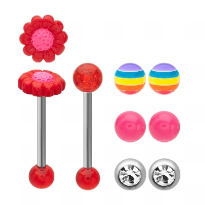 Novelty Tongue Bar Value Pack - 5 - Designs In One Pack! Flower/Stripe/Glitter/Gem/Pink acrylic