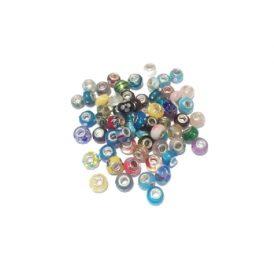 Silver Plated Glass Beads - Pandora Style