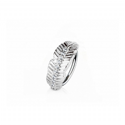Crystal Leaf Half Circle Surgical Steel Hoop Ring