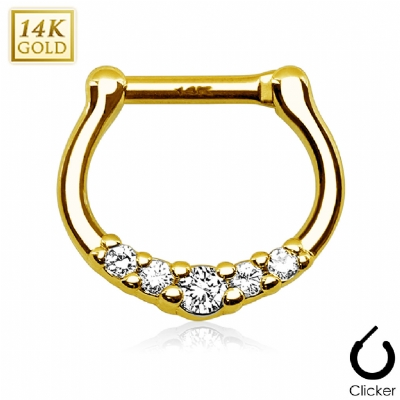 White Five Crystal 14ct Yellow Gold Septum Clicker Hinged Ring