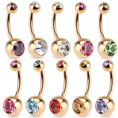 Rose Gold Anodised Double Gem Belly Bar