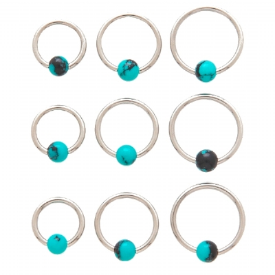 Blue and Green Marble Stone Ball Closure Ring