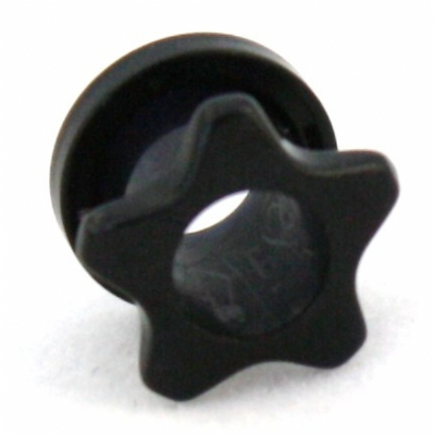 Star Black Acrylic Screw On Flesh Tunnel 3mm - 12mm