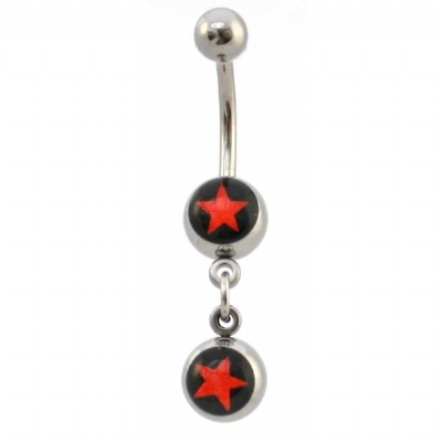 Star Double Logo Dangle Belly Piercing Bar