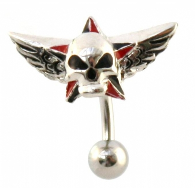 Reverse Skull & Star Wings Belly Piercing Bar
