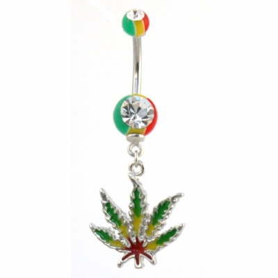 Rasta Hash Leaf Dangle Belly Piercing Bar