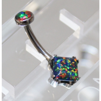 Anatometal Black Opal Princess Cut Stone Belly Bar