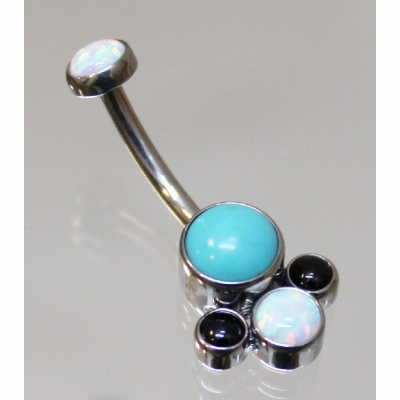Anatometal Turquoise Black Onyx White Opal Cluster Belly Bar