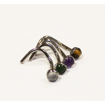 In Stock - Anatometal Titanium Nose Screw - Bezel Set 3mm Natural Stone Cabochon