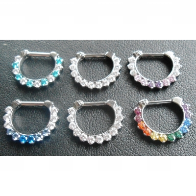 IN STOCK - Titanium Prong Set Faceted Gem Septum Clicker #5