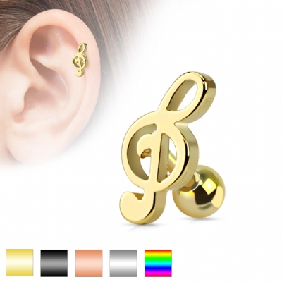 Treble Clef Music Note Surgical Steel Tragus / Helix Bar