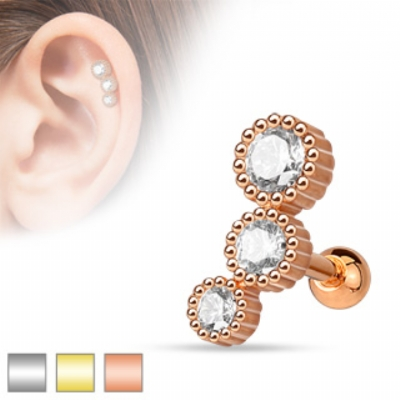 Triple Round Grooved Set Crystal Tragus Bar