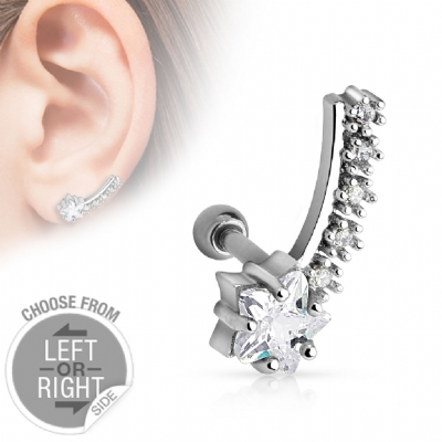 Shooting Star Surgical Steel Helix / Cartilage / Ear Lobe Bar