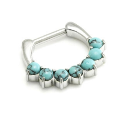 Small Turquoise Stone Hinged Septum Ring Clicker - Made Entirely From Surgical Steel