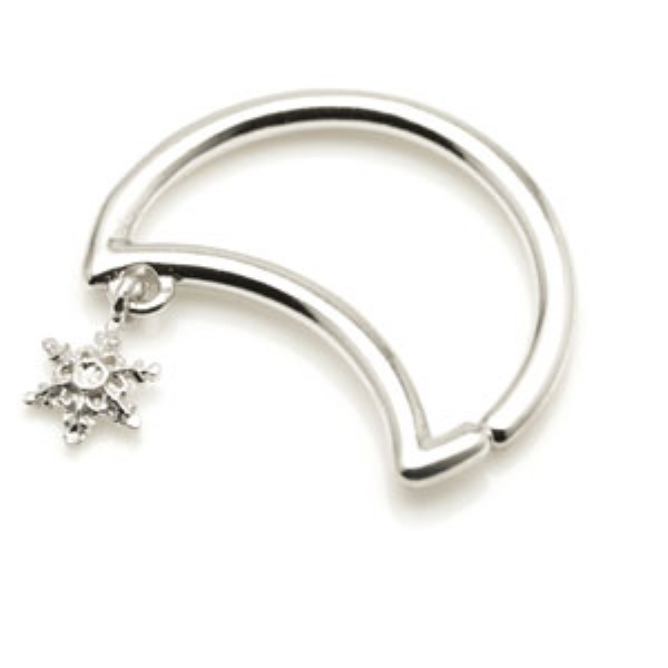 28b3bf75d Snowflake Dangle Crescent Moon Sterling Silver Seam Daith Ring