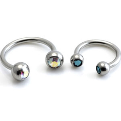 Double Gem Ball Horseshoe Circular Barbell - 1.2mm