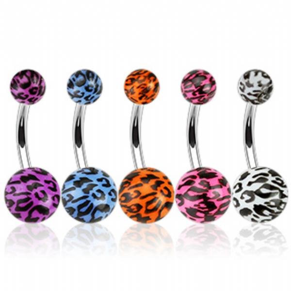 Leopard Print Acrylic Belly Piercing Bar