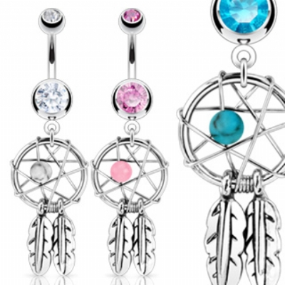 Dreamcatcher Dangle Belly Piercing Bar